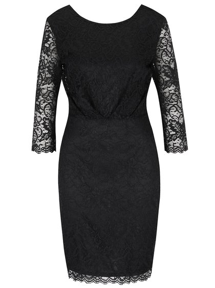 Rochie neagră VILA Karen cu dantelă