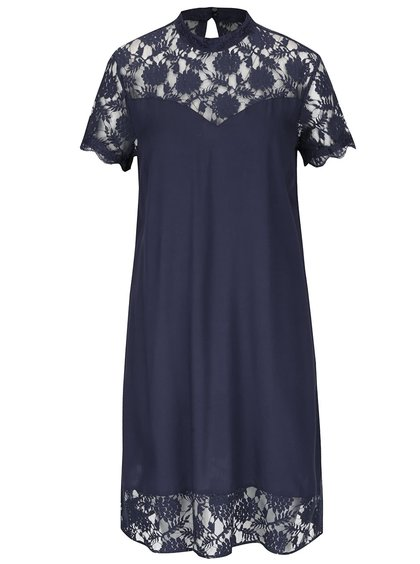 Tmavomodré šaty s čipkovanými detailmi VILA Tiya