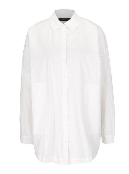 Krémová volnější košile s rozparkem na zádech VILA Sagin
