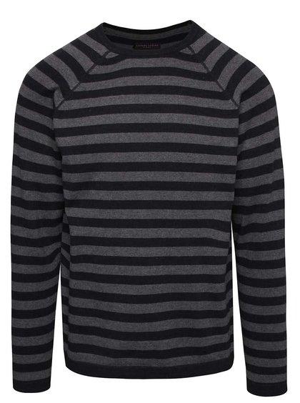 Čierny pánsky pruhovaný sveter Casual Friday