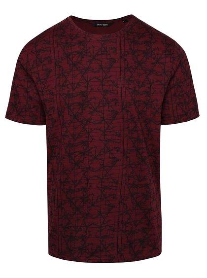 Vínové tričko s celopotlačou ONLY & SONS Asvin