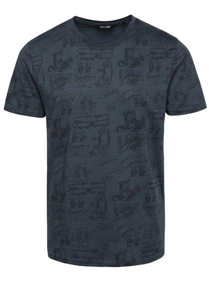 Modré tričko s celopotlačou ONLY & SONS Asvin