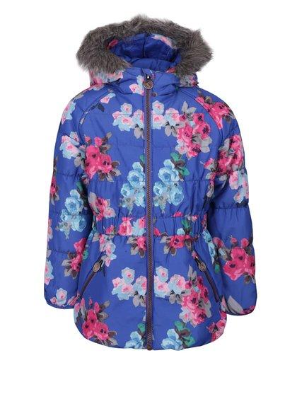Modrá holčičí prošívaná bunda s květy Tom Joule Merrydale