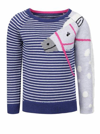 Tmavomodrý dievčenský pruhovaný sveter s potlačou koňa Tom Joule GeeGee