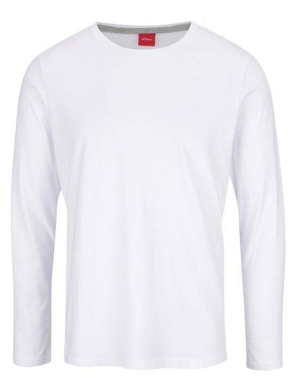 Biele pánske tričko s dlhými rukávmi s.Oliver