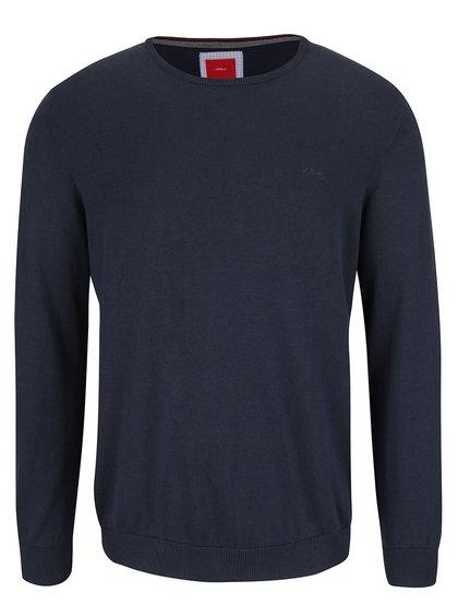 Tmavě modrý pánský svetr s logem s.Oliver