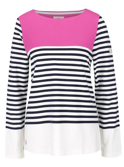 Ružovo-krémové dámske pruhované tričko s dlhým rukávom Tom Joule Harbour