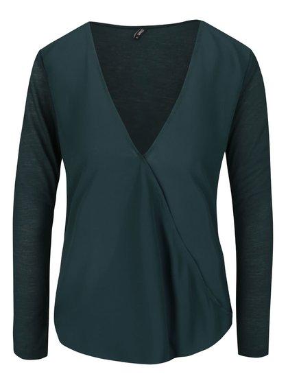 Bluză verde închis ONLY Palma cu croi asimetric