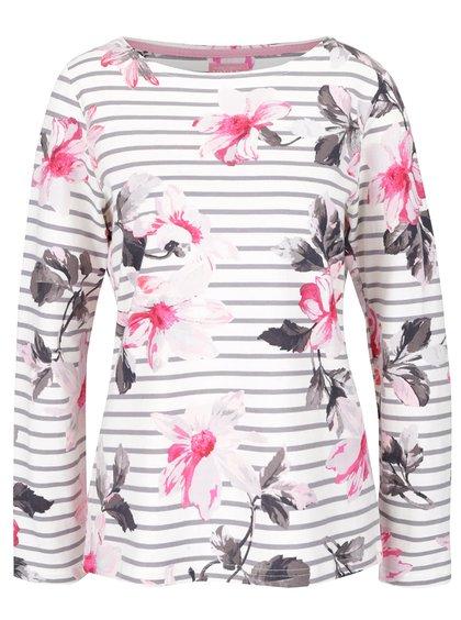Krémové dámske pruhované tričko s kvetinovou potlačou Tom Joule Harbour