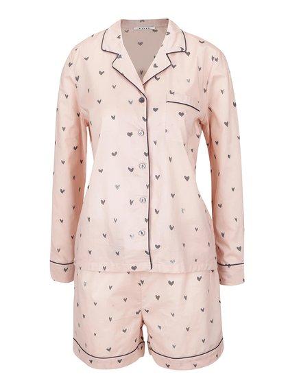 Ružové pyžamo so vzorom sŕdc Pieces Wonder