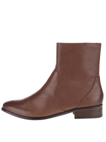 Hnědé kožené dámské kotníkové boty ALDO Elia
