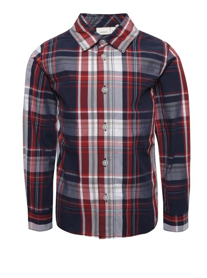 Modro-červená chlapčenská kockovaná košeľa name it Nohn