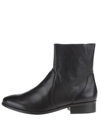 Čierne kožené členkové topánky ALDO Elia