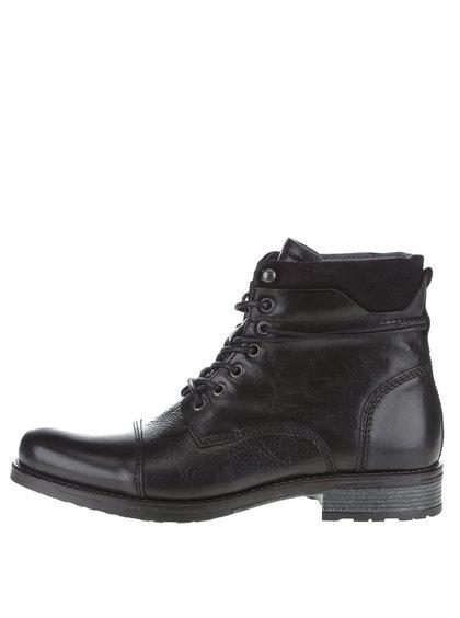 Černé pánské kožené kotníkové boty ALDO Niman