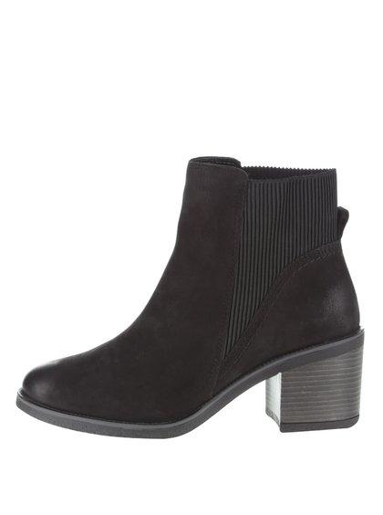 Čierne kožené topánky na podpätku ALDO Boscara