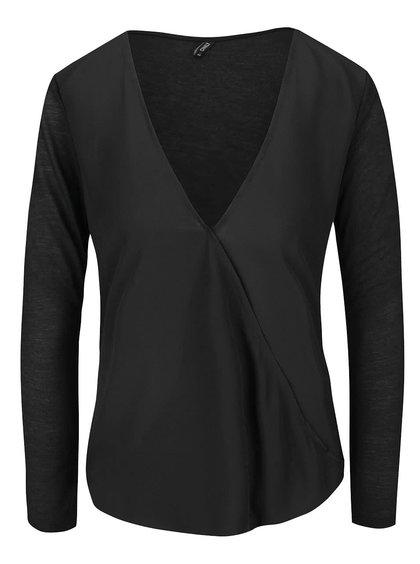 Bluză neagră ONLY Palma cu croi asimetric