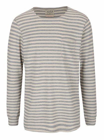Béžovo-šedý lehký pruhovaný svetr Jack & Jones Bill