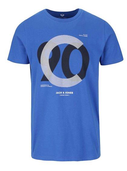 Modré tričko s potlačou Jack & Jones Numbers