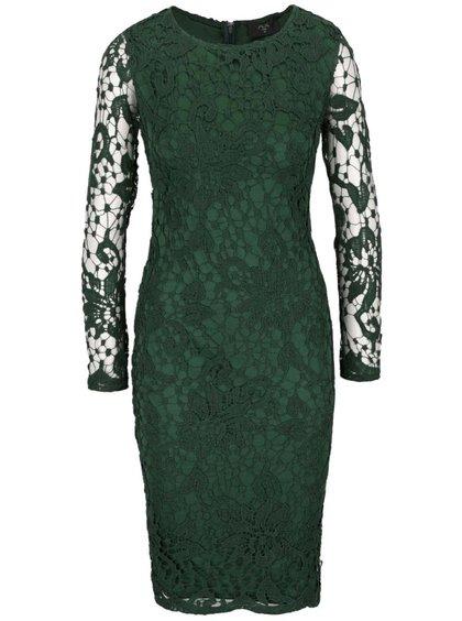 Zelené čipkované šaty s dlhým rukávom AX Paris