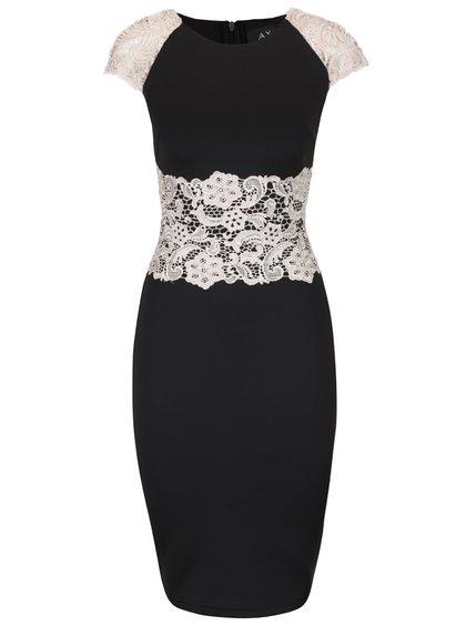 Rochie neagră AX Paris cu dantelă crem