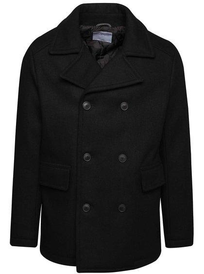 Palton negru Selected Homme New Mercer cu inchidere dublă