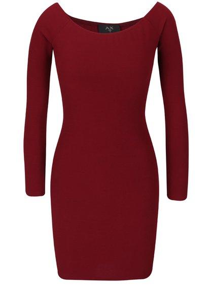 Vínové přiléhavé šaty s dlouhými rukávy AX Paris