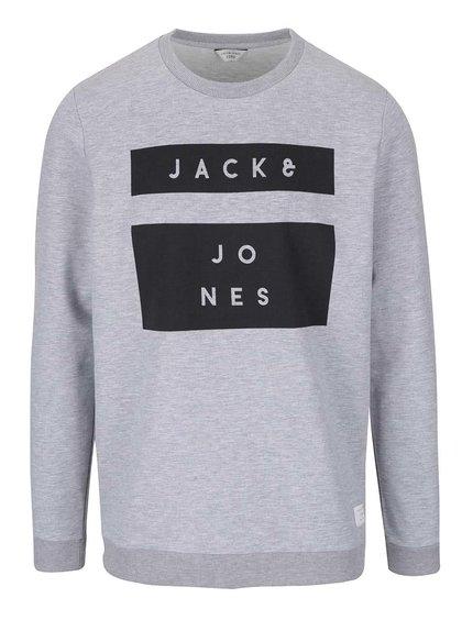 Bluză gri deschis Jack & Jones Box cu print