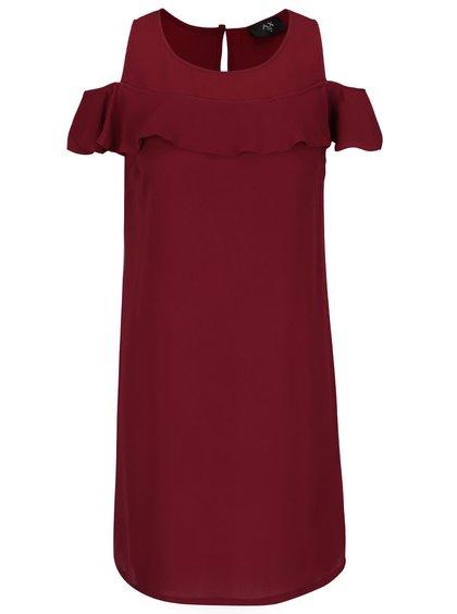 Vínové šaty s volánom AX Paris