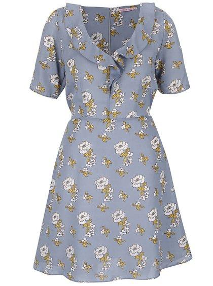 Modré šaty s volánkem kolem výstřihu Trollied Dolly Frill Tea