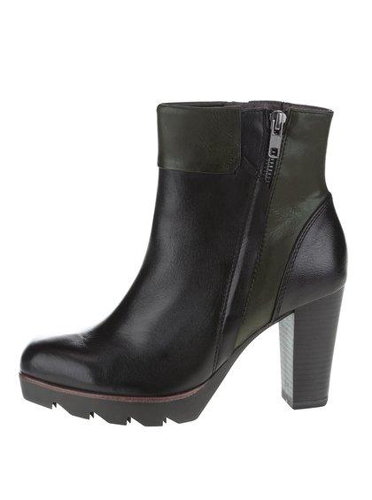 Zeleno-černé kotníkové boty na podpatku Tamaris