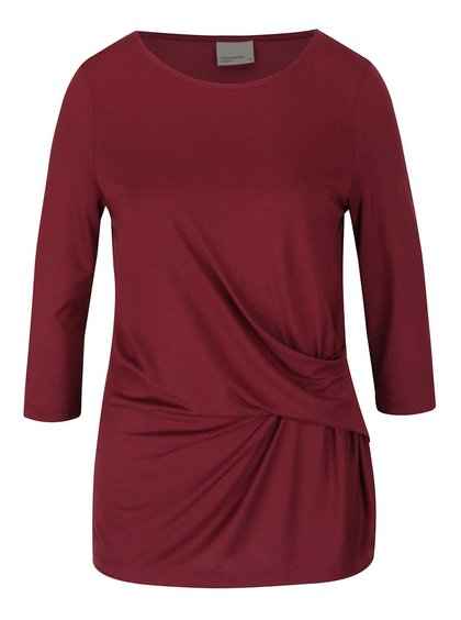 Bluză vișinie VERO MODA Monica cu mâneci trei sferturi