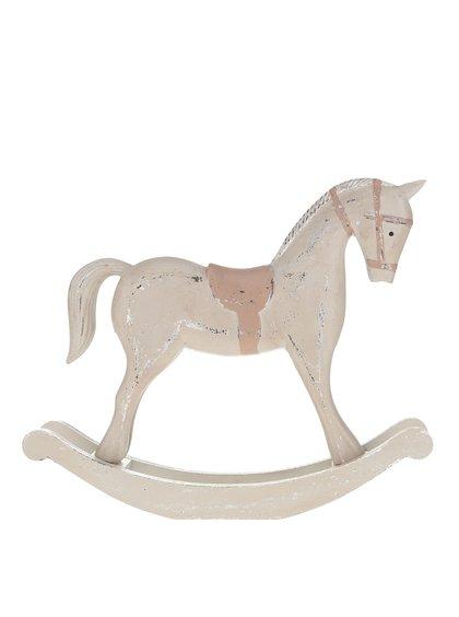 Hnedý veľký vintage drevený hojdací koník Dakls
