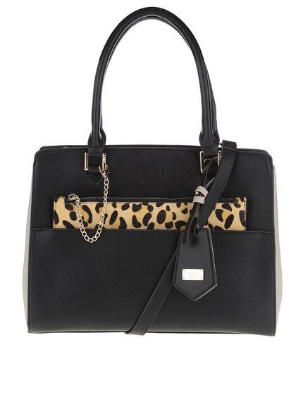 Čierna kabelka s leopardím vzorom a detailmi v zlatej farbe LYDC