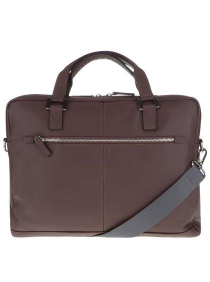 Tmavohnedá pánska kožená taška bugatti Manhattan