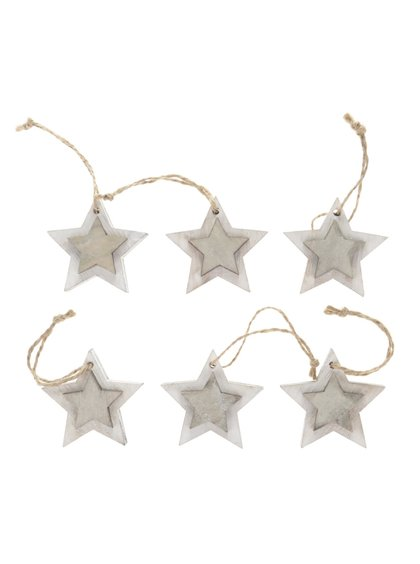 Sada šesti krémových závěsných dřevěných hvězdiček Dakls