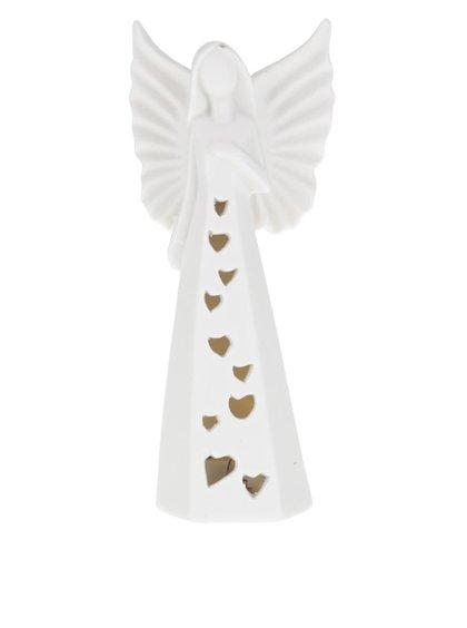 Bílá menší LED soška anděla Dakls