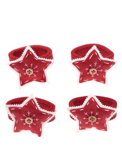 Súprava štyroch červených držiakov na obrúsky v tvare hviezdy Dakls