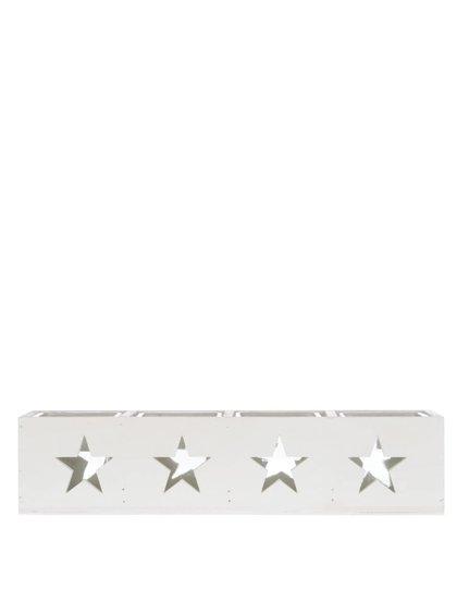 Biely dlhý drevený svietnik s hviezdami Dakls