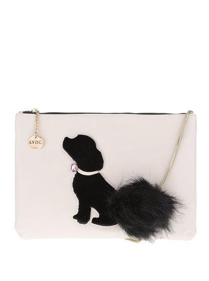 Svetloružová listová kabelka s čiernym plastickým motívom psa a aplikáciou LYDC