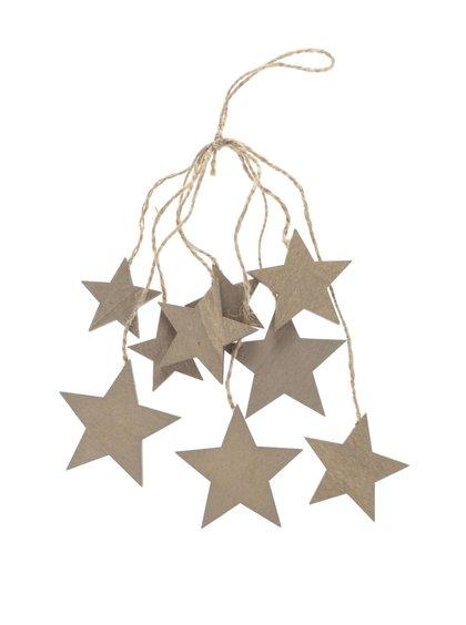 Hnědá dřevěná závěsná dekorace svazek hvězd Dakls