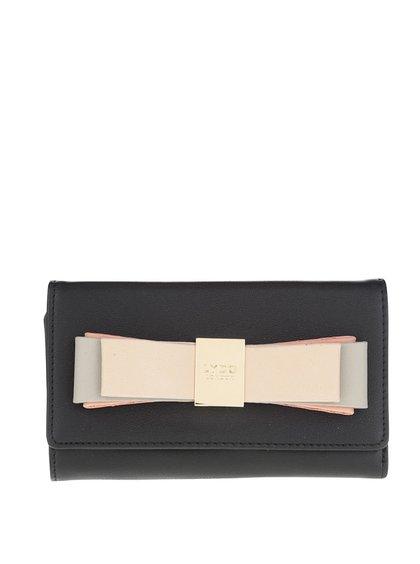Černá peněženka s mašlí a detailem ve zlaté barvě LYDC