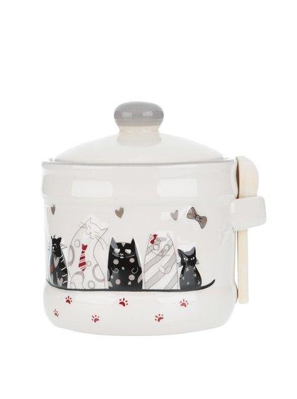 Krémová keramická nádoba s motívom mačiek Dakls