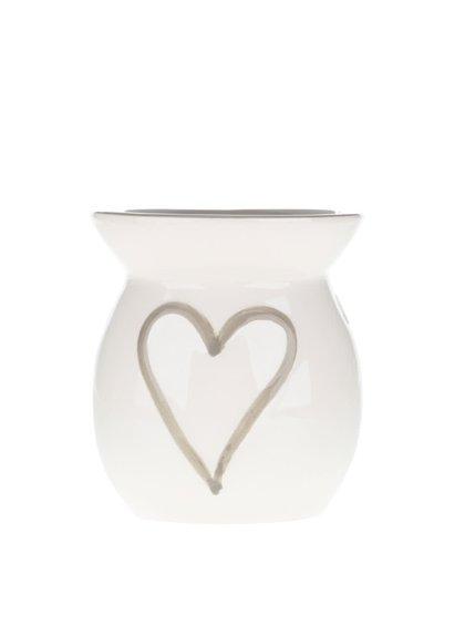 Krémová keramická aromalampa se srdcem Dakls
