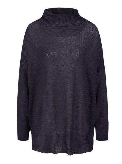 Tmavomodrý voľnejší sveter s rolákom b.young
