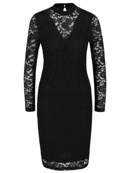 Černé krajkové šaty s dlouhým rukávem Polar b.young