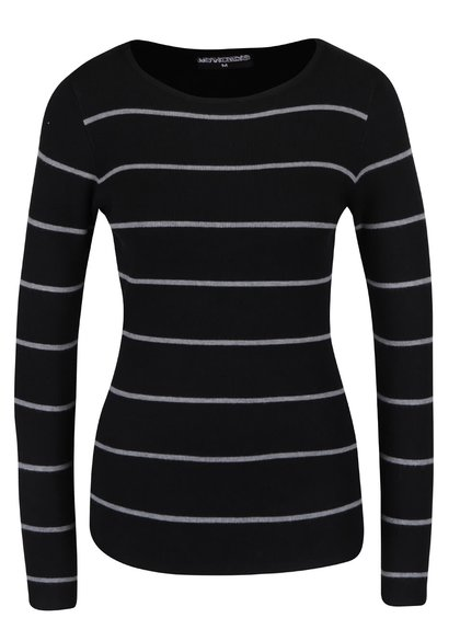 Čierne pruhované tričko s dlhým rukávom Haily´s Karen