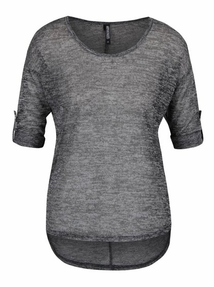 Tmavě šedý žíhaný průsvitný top s 3/4 rukávy Haily´s Sofia