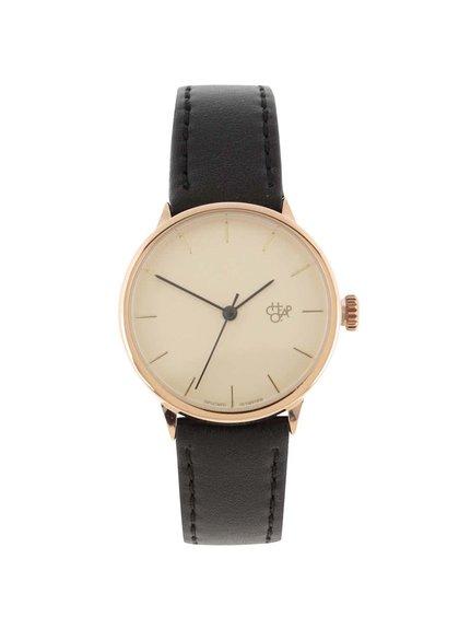 Dámské hodinky ve zlaté barvě s černým páskem z veganské kůže Cheapo Khorshid Mini Rose