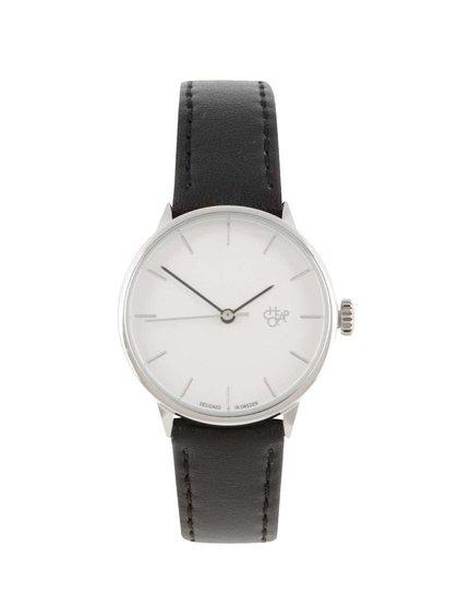 Dámske hodinky v striebornej farbe s čiernym remienkom z vegánskej kože CHPO Khorshid Mini Silver