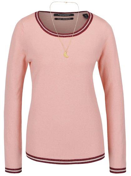 Pulover roz Maison Scotch cu accesoriu